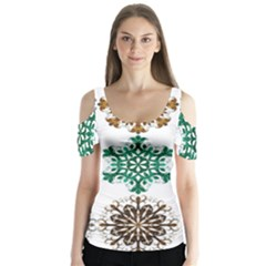 A Set Of 9 Nine Snowflakes On White Butterfly Sleeve Cutout Tee