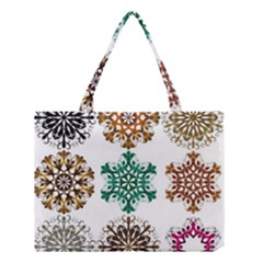A Set Of 9 Nine Snowflakes On White Medium Tote Bag by Amaryn4rt
