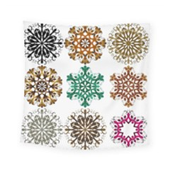 A Set Of 9 Nine Snowflakes On White Square Tapestry (small)