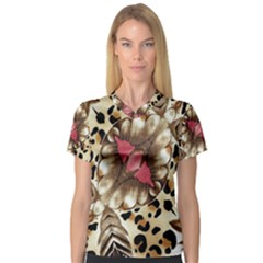 Animal Tissue And Flowers Women s V Neck Sport Mesh Tee by Amaryn4rt