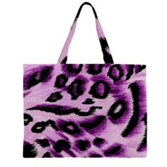 Background Fabric Animal Motifs Lilac Zipper Large Tote Bag by Amaryn4rt