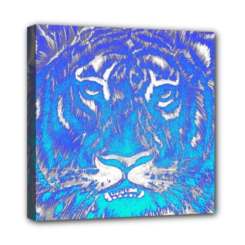 Background Fabric With Tiger Head Pattern Mini Canvas 8  X 8  by Amaryn4rt