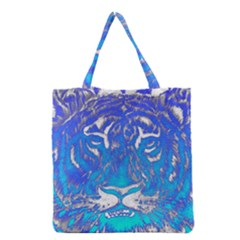 Background Fabric With Tiger Head Pattern Grocery Tote Bag by Amaryn4rt