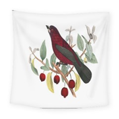 Bird On Branch Illustration Square Tapestry (large)