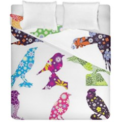 Birds Colorful Floral Funky Duvet Cover Double Side (california King Size) by Amaryn4rt