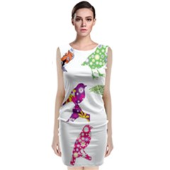 Birds Colorful Floral Funky Classic Sleeveless Midi Dress