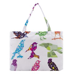 Birds Colorful Floral Funky Medium Tote Bag