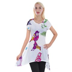 Birds Colorful Floral Funky Short Sleeve Side Drop Tunic