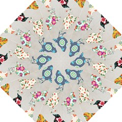 Birds Floral Pattern Wallpaper Straight Umbrellas by Amaryn4rt
