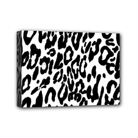Black And White Leopard Skin Mini Canvas 7  X 5  by Amaryn4rt