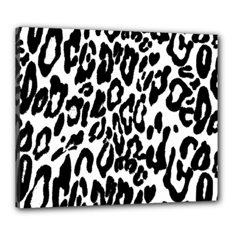 Black And White Leopard Skin Canvas 24  X 20  by Amaryn4rt