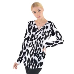 Black And White Leopard Skin Women s Tie Up Tee by Amaryn4rt