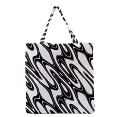 Black And White Wave Abstract Grocery Tote Bag by Amaryn4rt