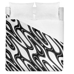 Black And White Wave Abstract Duvet Cover (queen Size) by Amaryn4rt