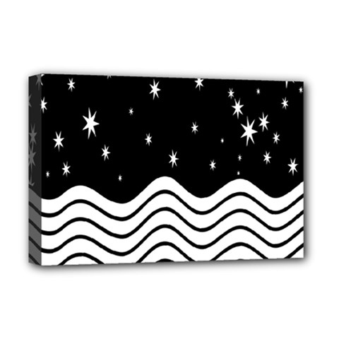 Black And White Waves And Stars Abstract Backdrop Clipart Deluxe Canvas 18  X 12   by Amaryn4rt