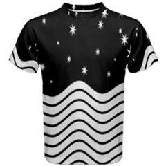 Black And White Waves And Stars Abstract Backdrop Clipart Men s Cotton Tee