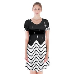 Black And White Waves And Stars Abstract Backdrop Clipart Short Sleeve V Neck Flare Dress by Amaryn4rt
