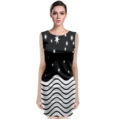 Black And White Waves And Stars Abstract Backdrop Clipart Classic Sleeveless Midi Dress