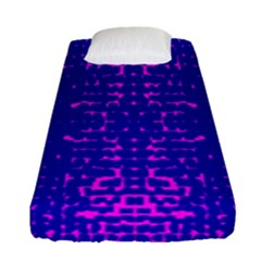 Blue And Pink Pixel Pattern Fitted Sheet (single Size) by Amaryn4rt