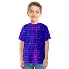 Blue And Pink Pixel Pattern Kids  Sport Mesh Tee