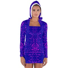 Blue And Pink Pixel Pattern Women s Long Sleeve Hooded T Shirt by Amaryn4rt