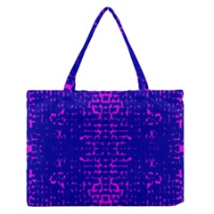 Blue And Pink Pixel Pattern Medium Zipper Tote Bag by Amaryn4rt