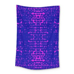 Blue And Pink Pixel Pattern Small Tapestry by Amaryn4rt