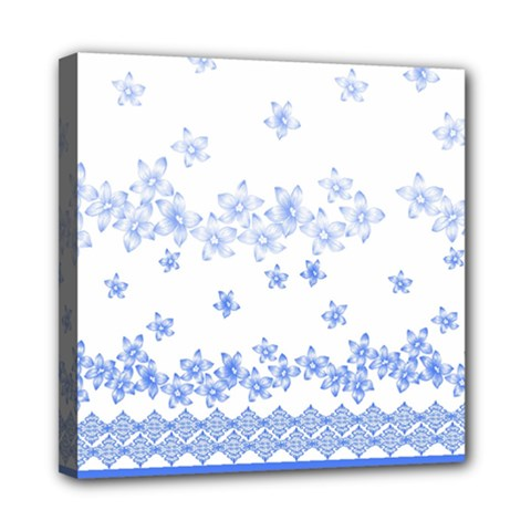 Blue And White Floral Background Mini Canvas 8  X 8  by Amaryn4rt