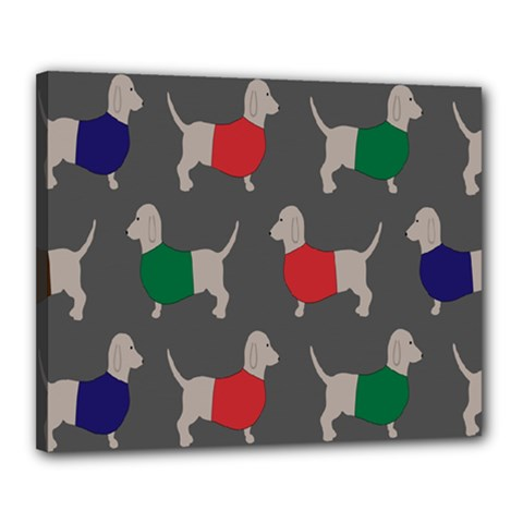Cute Dachshund Dogs Wearing Jumpers Wallpaper Pattern Background Canvas 20  X 16  by Amaryn4rt