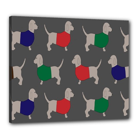 Cute Dachshund Dogs Wearing Jumpers Wallpaper Pattern Background Canvas 24  X 20  by Amaryn4rt