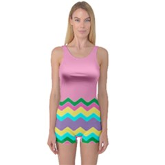 Easter Chevron Pattern Stripes One Piece Boyleg Swimsuit by Amaryn4rt