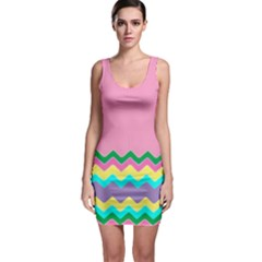 Easter Chevron Pattern Stripes Sleeveless Bodycon Dress by Amaryn4rt