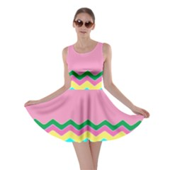 Easter Chevron Pattern Stripes Skater Dress by Amaryn4rt