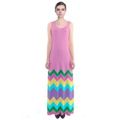 Easter Chevron Pattern Stripes Sleeveless Maxi Dress by Amaryn4rt