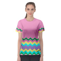 Easter Chevron Pattern Stripes Women s Sport Mesh Tee by Amaryn4rt