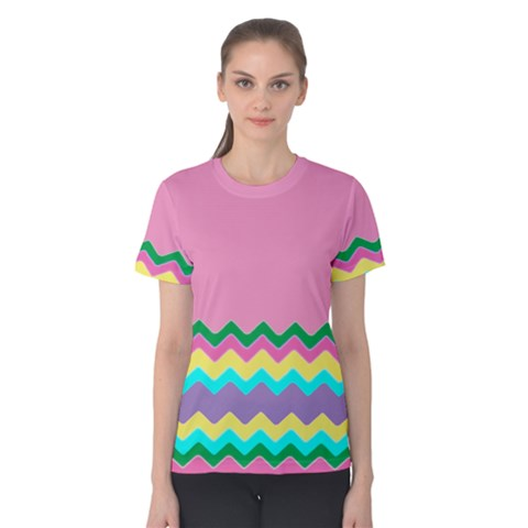 Easter Chevron Pattern Stripes Women s Cotton Tee by Amaryn4rt
