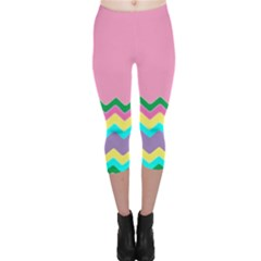 Easter Chevron Pattern Stripes Capri Leggings  by Amaryn4rt