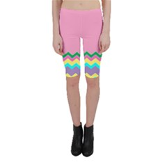 Easter Chevron Pattern Stripes Cropped Leggings  by Amaryn4rt