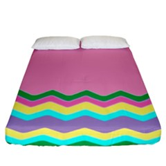 Easter Chevron Pattern Stripes Fitted Sheet (king Size) by Amaryn4rt