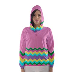 Easter Chevron Pattern Stripes Hooded Wind Breaker (women) by Amaryn4rt