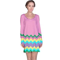 Easter Chevron Pattern Stripes Long Sleeve Nightdress by Amaryn4rt