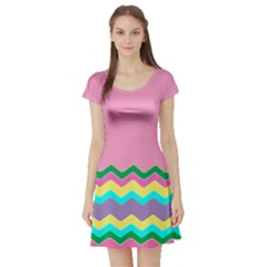 Easter Chevron Pattern Stripes Short Sleeve Skater Dress by Amaryn4rt