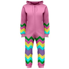 Easter Chevron Pattern Stripes Hooded Jumpsuit (ladies)  by Amaryn4rt