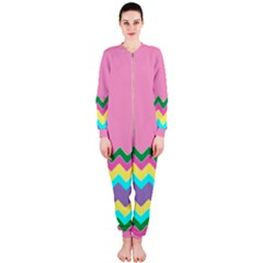 Easter Chevron Pattern Stripes Onepiece Jumpsuit (ladies)  by Amaryn4rt