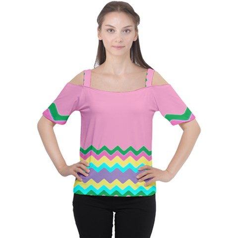 Easter Chevron Pattern Stripes Women s Cutout Shoulder Tee by Amaryn4rt