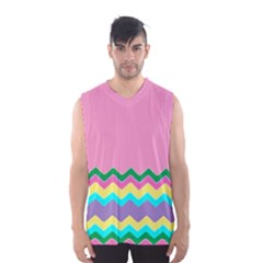 Easter Chevron Pattern Stripes Men s Basketball Tank Top by Amaryn4rt