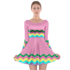 Easter Chevron Pattern Stripes Long Sleeve Skater Dress by Amaryn4rt