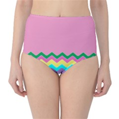 Easter Chevron Pattern Stripes High Waist Bikini Bottoms by Amaryn4rt