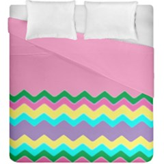 Easter Chevron Pattern Stripes Duvet Cover Double Side (king Size) by Amaryn4rt