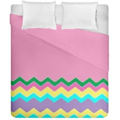 Easter Chevron Pattern Stripes Duvet Cover Double Side (california King Size) by Amaryn4rt